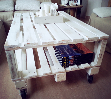 Mesas de madera de pino for Mesas hechas de palets