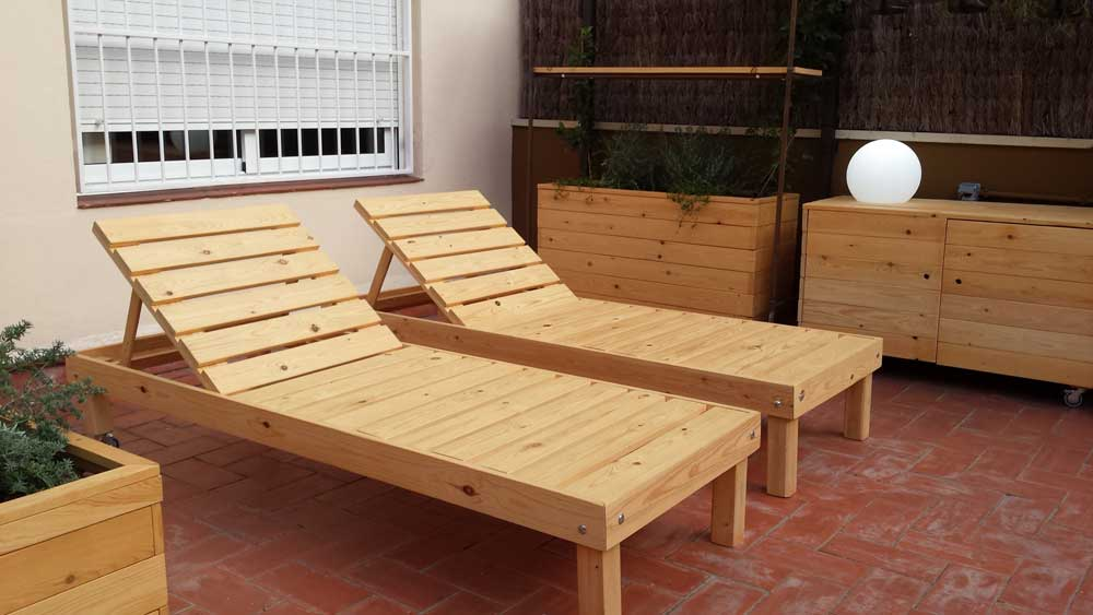 Muebles para terrazas de palets y madera de pino natural - Muebles hechos con palets de madera ...
