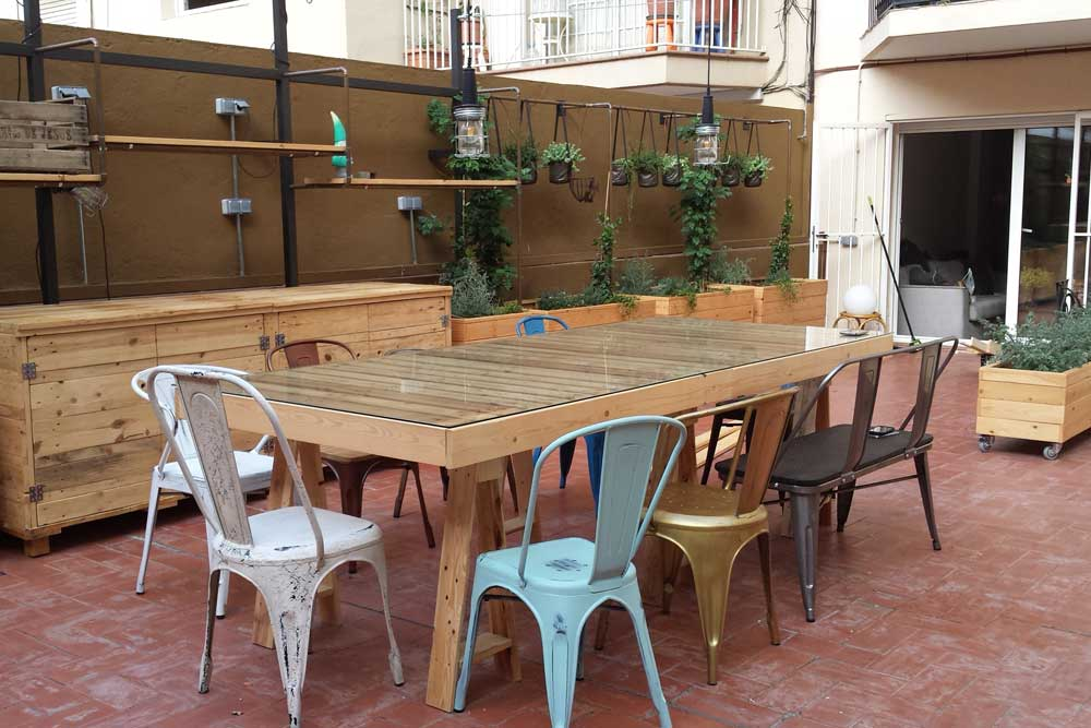 Muebles De Palets Y Madera Pino Natural Para Terraza En